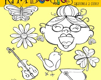 KPM Old lady who swallowed a Clover Digital Clipart Stamps
