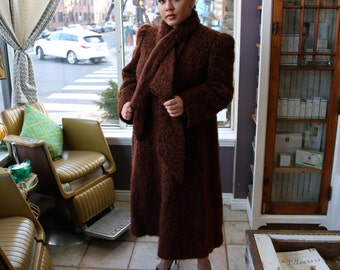 Free Shipping!: Vintage Plus Size 1970s Brown Trigere Mohair Coat with Tie-Neck Collar