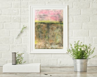 "Abstract Art Print, Contemporary Art Print, Fine Art Print, Modern Art Print, pink yellow brown, Wall Art, 8""x10"" or 11""x14"" Print, ""Rising"""