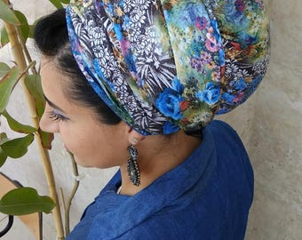 Leatherette floral scarf ,african head wrap, israel head scarf, satin hair scarf, hair scarf, tichel scarf, hair scarves,chemo  head scarf