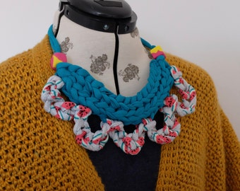 Statement necklace. T-shirt yarn necklace. Crochet knit necklace. Chunky necklace. Teething/feeding necklace.