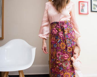 Pastel Pink with Fuschia Floral Skirt Maxi Dress