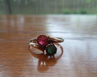 Antique Rose Gold Garnet Glass Emerald Ring 10K Solid Not Gold Filled