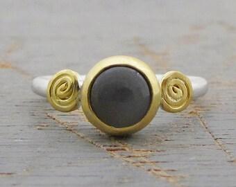 Grey Moonstone Ring - 22k Gold & silver Ring - Gray Moonstone Stacking Ring - Gold Moonstone Ring