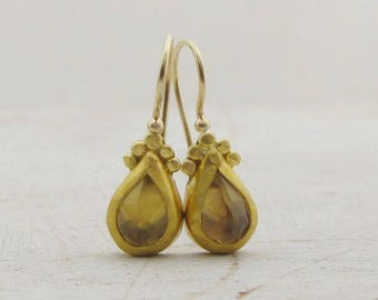 24k Gold Earrings - Champagne Quartz Earrings - Bridal Earrings - Solid Gold And Champagne Quartz Earrings
