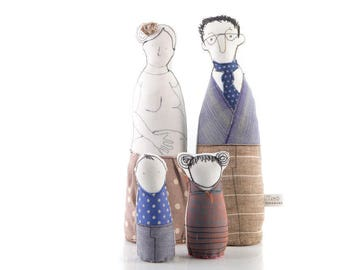 Family portrait dolls , fabric dolls , Pregnant woman doll , dad doll , son & daughter , handmade Pair , gift for doula , soft figurine