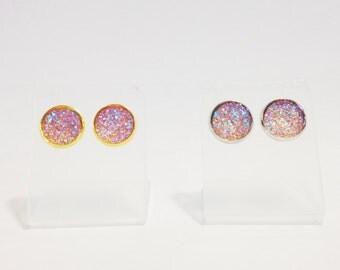 The Sugar Earrings in Blush | Blush Pink Glitter Earrings | Glitter Druzy Earrings | Blush Druzy Earrings | Blush Wine Earrings