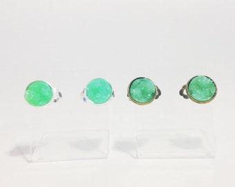 The Druzy Clip On Earrings in Mint | Mint Green Druzy Earrings | Mint Earrings | Mint Druzy Jewelry | Mint Green Clip On Earrings |