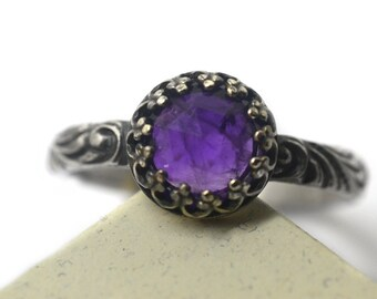 Purple Amethyst Ring, Natural Crystal Gemstone Ring, Gothic Baroque Style Oxidized Silver Ring, Women's Custom Engraved Jewelry