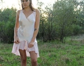 EMILY Slip Dress Vintage 1980's  Night Gown Pale Pink Lingerie Mesh Ruffle Intimates Size Medium NOS New With Tag