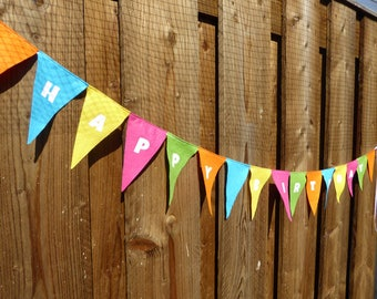 Happy Birthday Bunting - made from wool blend felt in bright rainbow colours, perfect for kids birthday