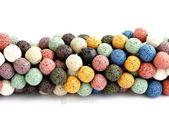 Dyed Lava Beads, 16mm Full Strand, Imitation Lava Rock Beads, 28pcs