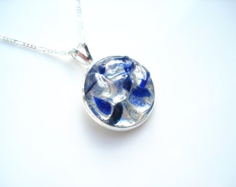 White and Cobalt Blue rockpool Pendant of Seaham Sea Glass  - E1700 - from Seaham beach,  UK