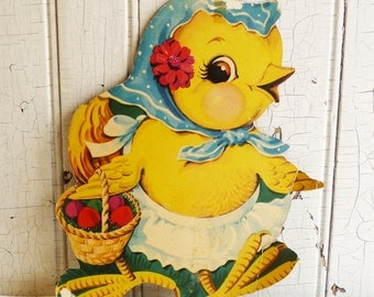 Vintage Chick Die Cut Wall Hanging - Large Die Cut Easter Decoration - Spring Decor - Anthropomorphic - 1940s or 1950s