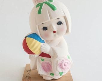 Vintage Hakata Japanese Geisha Doll With Platform Hand Painted Ceramic Souvenir