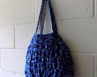 Blue Handbag, Hand Knitted Tote Bag, Multi Coloured Handbag