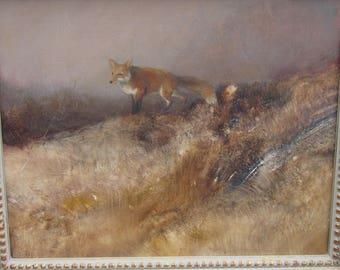 Tom Sander Oil on Board - Framed Signed Original Red Fox Painting - Weathered Rustic Wood Frame - Listed Wildlife Artist - Nature Lover Art
