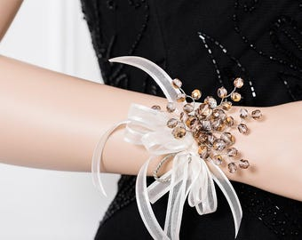 Wedding Corsage - Bridesmaid Corsage - Smoky Gold Corsage - Coppery Gold and Gray Corsage - Wrist Corsage - Prom Corsage