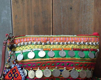 Banjara Clutch Vintage Tribal Belly dancer coin Cosmetic bag Leather wristlet beaded charm