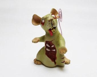 Memo Zombie Rat Sculpture Pet Rat Ornament Horror Fancy Rat Figurine Memo Note Holder