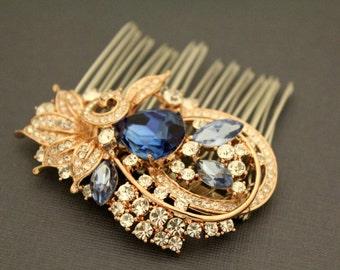Wedding hair comb Rose gold tone Bridal hair clip,Sapphire Wedding hair clip,Bridal hair accessories,Vintage inspired Wedding hair piece