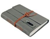 Leather Journal with Blank Paper, Large Dark Olive Green Travel Journal, Fused Glass, OOAK, Bookmark, Custom, Sketchbook