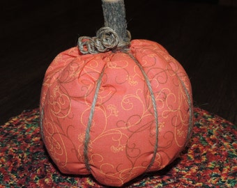 """5"""" high Fabric Pumpkin home decor decorating Orange with brown and yellow scrolls vines halloween Thanksgiving"""
