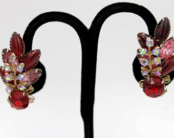 Spectacular Red and Pink Rhinestone Earrings with Aurora Borealis