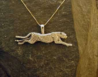 14K Gold Running Cheetah Pendant on a 14K Gold Chain