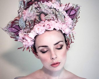 Magenta, Pink & Gold 'Springtime Glory' Floral Fairytale Couture Headdress