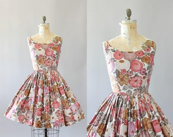 Vintage 50s Dress/ 1950s Cotton Dress/ Fritzi of California Pink & Mauve Floral Print Cotton Spaghetti Strap Dress M