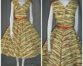 1950's TIGER Colorful Striped Novelty Print Dress Full Skirt Shelf Bust Rhinestone Belt Sundress Atomic 28 Waist Rockabilly VlV