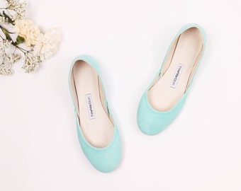 The Nubuck Ballet Flats in Aqua | Leather Ballet Flats in Tiffany Green |  Bridal Flats | Pointe Shoes in Aqua