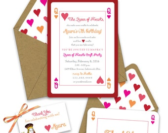 Queen of Hearts Birthday Invitations