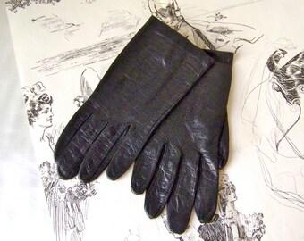 Vintage Gloves Black Leather Soft Leather Gloves Size Small Leather Driving Gloves Vintage 1960s