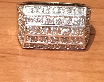 STERLING SILVER MODERNIST Square Cubic Zirconia Cz 6.2 grams Ring Size 8