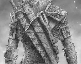 Geralt of Rivia Giclee print of pencil drawing
