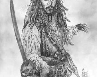 Captain Jack Sparrow from Pirates of the Caribbean Giclee print of pencil drawing