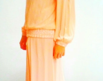 80s pleated blouse / Baby PINK / OVERSIZE / Blouson Sleeves / Shoulder Pads s/m