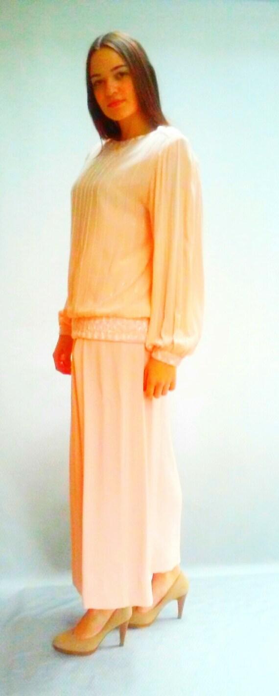 pink SILK blouse & PANTS / Pale Pink 2-piece suit / tunic top / palazzo pants / Size medium