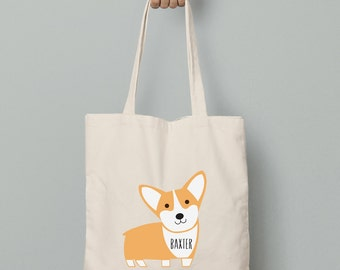 Personalized canvas tote bag, Corgi tote bag, custom name, Corgi gift