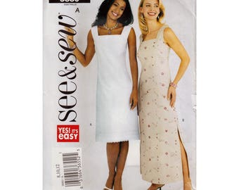 Easy Dress Sewing Pattern Square Neckline Midi Length or Maxi Dress Beginner UNCUT Size 8 10 12 Bust 31.5-34 (80-87 cm) Butterick 3880 S