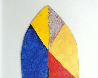 abstract art - aryl oval modern art- 1989 artwork - yellow blue red