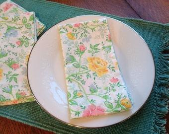 Handmade Cloth Napkins, Dinner, Floral Napkins, Pastel Flowers, Easter Napkins, Spring Napkins