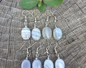 Grey Agate Ovals . Earrings