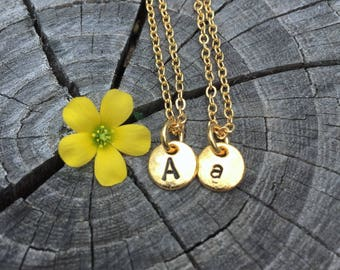 Gold Hand Stamped Initial Disc . Personalized . Custom . Necklace