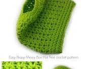Easy Peasy Messy Bun Hat crochet pattern ponytail hat messy bun hat - PDF