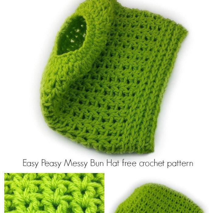 Easy Peasy Crochet Hat Patterns : Crochet Hat Pattern Easy Peasy Messy Bun Hat crochet pattern