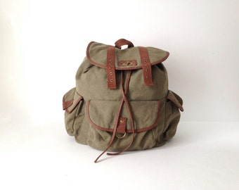 90s tan olive RUCKSACK backpack faux leather