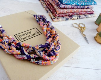 Blue Bib Necklace - Liberty Print Pendant - Statement Rope Jewelry - Chunky Fabric Necklace - Blue and Orange Necklace - Bridal Necklace